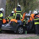 ongeval, auto, boom, brandweer