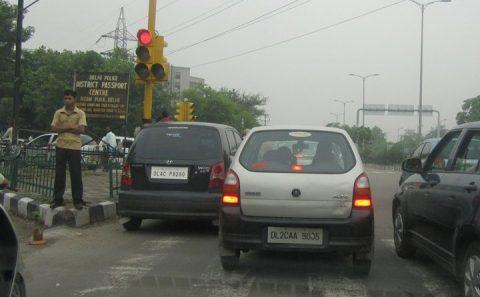 India, verkeersovertreding, politie, auto