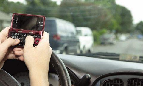 smsen, rijden, stuur, automobilist