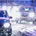 sneeuw, verkeer, auto, weg