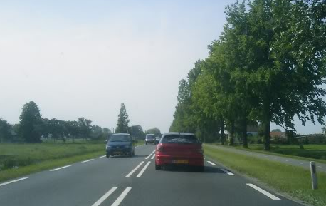 Dubbele asstreep, rijstrook, N-weg