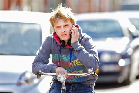 bellen, fiets, verkeer, jongeren