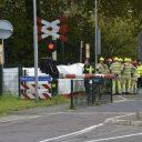 Dodelijk ongeval tussen een lesauto en een trein. foto: GinoPress