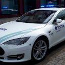 Tesla Model S van de Belgische politie. foto: Politiekorps Zaventem