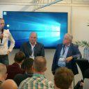 Jos Post (LBKR), Eric Bakker (VRB) en Ruud Rutten (FAM) tijdens de Nationale Rijschooldag